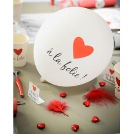 Ballons à la folie blanc noir coeur rouge 23 cm les 8