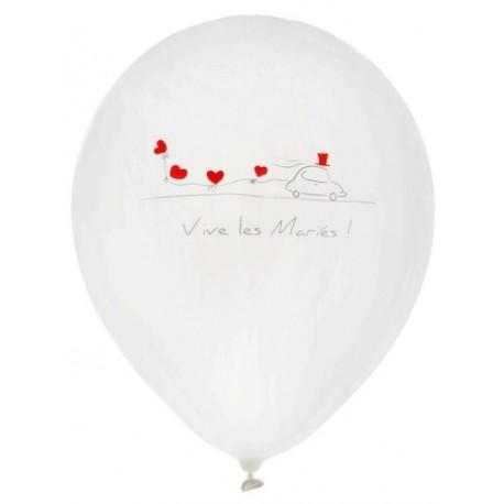 Ballons Vive les mariés blancs 23 cm les 8