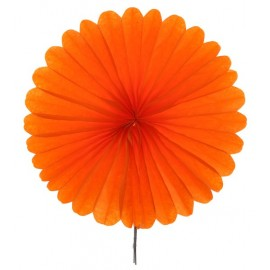 Eventails papier orange 20 cm les 2