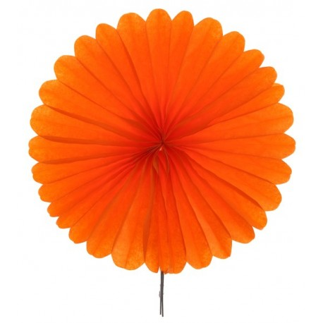 Eventail papier orange 20 cm les 2