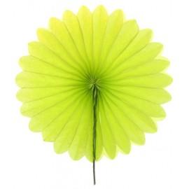 Eventail papier vert anis 20 cm les 2