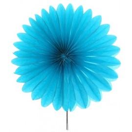 Eventails papier turquoise 20 cm les 2