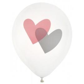Ballons blancs coeur rose et gris 23 cm les 8