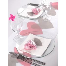 Chemin de table coeur rose coeur gris intissé blanc 5 M