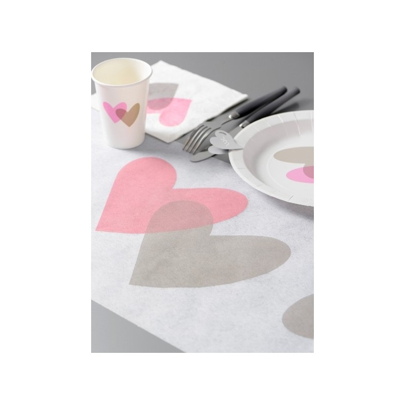 chemin de table coeur rose coeur gris 5 m achat chemin de table fêtes