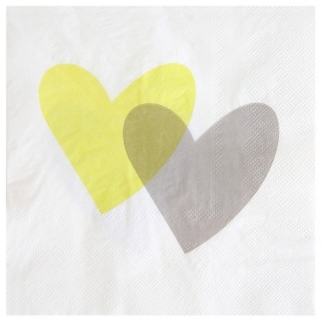 Serviette de table coeur vert anis gris papier blanc les 20