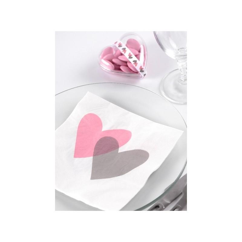 serviette de table coeur rose gris papier blanc les 20. Black Bedroom Furniture Sets. Home Design Ideas
