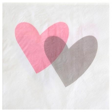 Serviette de table coeur rose gris papier blanc les 20