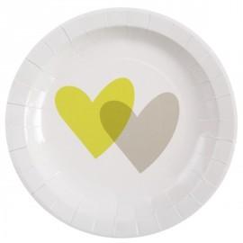 Assiettes coeur vert anis gris carton blanc 23 cm les 10