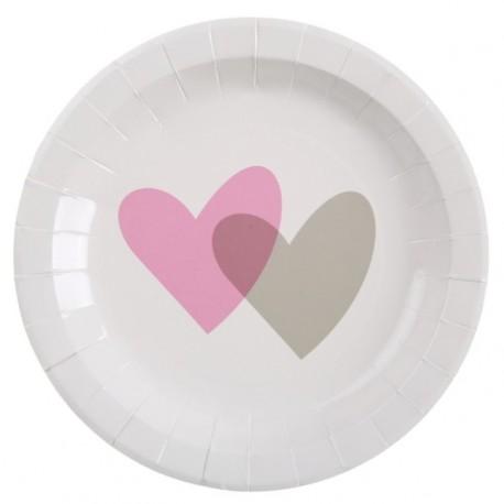 Assiette coeur rose gris carton blanc 23 cm les 10