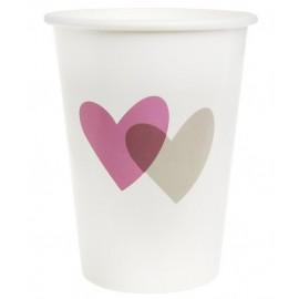 Gobelets coeur rose coeur gris carton blanc les 10