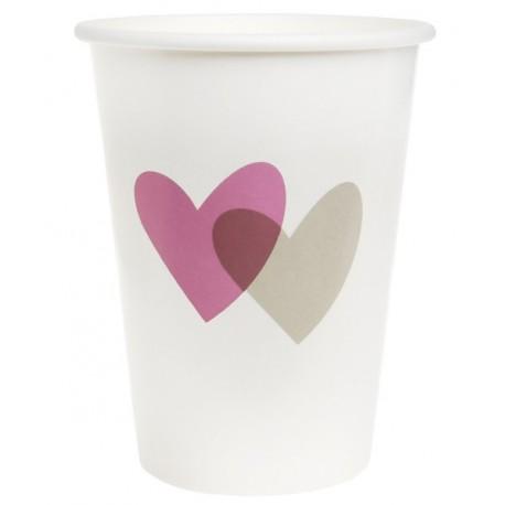 Gobelet coeur rose coeur gris carton blanc les 10