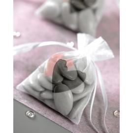 Sachet à dragées coeur rose gris les 6