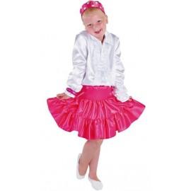 Déguisement jupe rose pink à volants satin fille