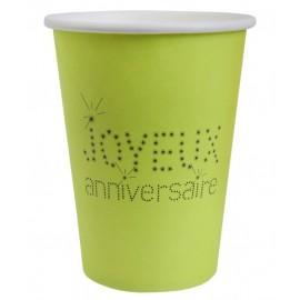 Gobelets Joyeux Anniversaire Carton Vert Anis les 10