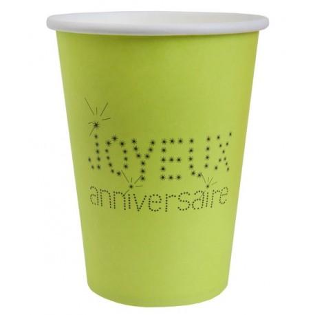 Gobelet Joyeux Anniversaire Carton Vert Anis les 10