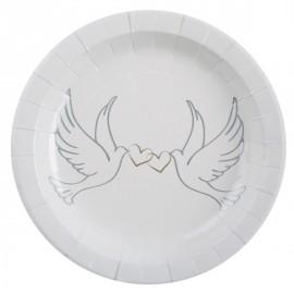 Assiettes Colombes carton Blanc 22.5 cm les 10