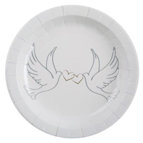 Assiette Colombes carton Blanc 22.5 cm les 10
