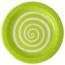 Assiettes carton spirale vert anis blanc 22.5 cm les 10