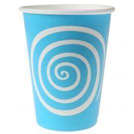 Gobelets carton spirale turquoise blanc les 10