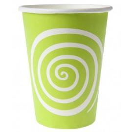 Gobelets carton spirale vert anis blanc les 10