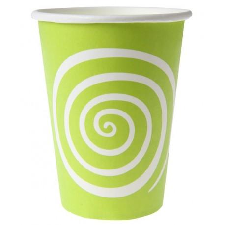 Gobelet carton spirale vert anis blanc les 10
