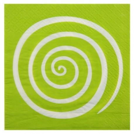 Serviettes de table spirale vert anis blanc les 20