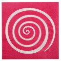 Serviettes de table spirale fuchsia blanc les 20