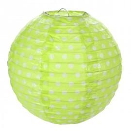 Lanternes boule papier vert anis à pois 20 cm les 2