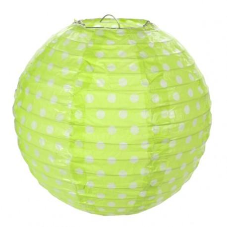 Lanterne boule papier vert anis à pois 20 cm les 2