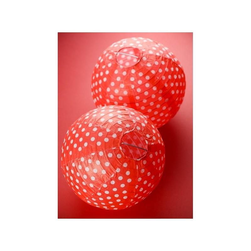 lanterne boule papier rouge pois 20 cm les 2. Black Bedroom Furniture Sets. Home Design Ideas