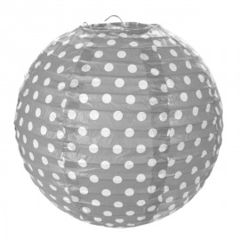 Lanternes boule papier gris à pois 20 cm les 2