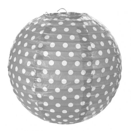 Lanterne boule papier gris pois 20 cm les 2 - Boule papier a suspendre ...