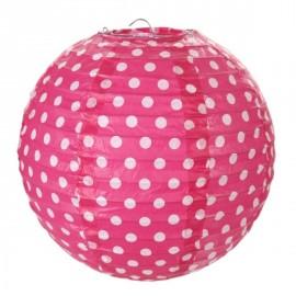 Lanterne boule papier fuchsia à pois 20 cm les 2