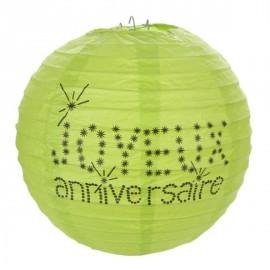 Lanterne Boule Papier Joyeux Anniversaire Vert Anis 20 cm les 2