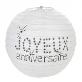 Lanternes Boule Papier Joyeux Anniversaire Blanc 20 cm les 2