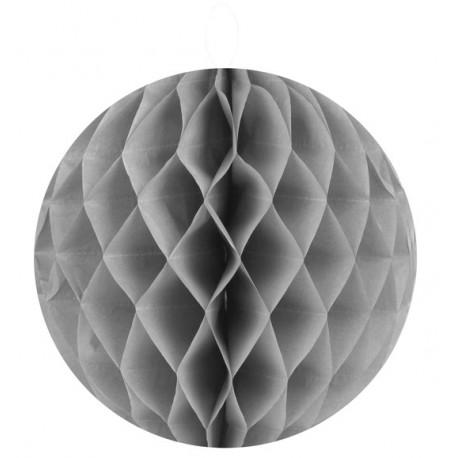 Boule papier alvéolé gris 20 cm les 2
