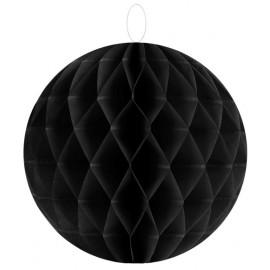 Boule papier alvéolé noir 20 cm les 2