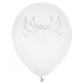 Ballons Colombes blancs 23 cm les 8