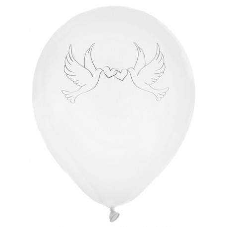 Ballon colombes blanc 23 cm les 8