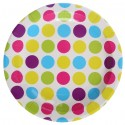Assiettes carton blanc à pois multicolores 22.5 cm les 10