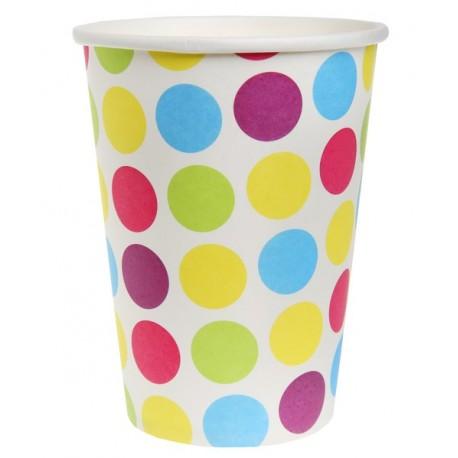Gobelet carton blanc à pois multicolores les 10