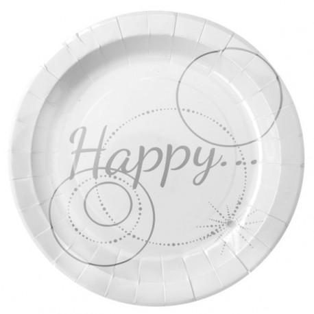 Assiette Happy carton Blanc 22.5 cm les 10