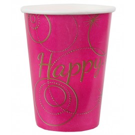 Gobelets carton Happy Fuchsia or les 10