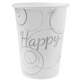 Gobelets carton Happy blanc argent les 10