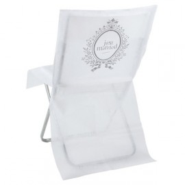 Housse de chaise Just married intissé Blanc les 10