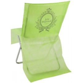 Housses de chaise Just Married intissé vert anis les 10