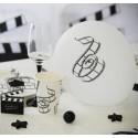 Ballons cinéma blanc noir 23 cm les 8