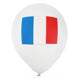 Ballons blancs drapeau Français 23 cm les 8