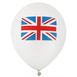 Ballons blancs drapeau Anglais Union Jack 23 cm les 8